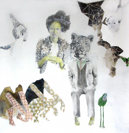 "ruby onyinyechi amanze, kindred,  2014, graphite, ink, pigment, enamel, photo transfers, glitter on paper, 80""x78"""