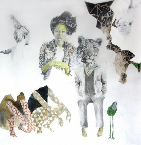 """ruby onyinyechi amanze, Kindred, 2014, graphite, ink, pigment, enamel, photo transfers, glitter on paper, 80""""x78"""" Photo courtesy of Tiwani Contemporary, London and the artist"""