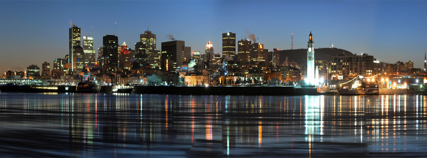 Montreal at Night reflected in the water